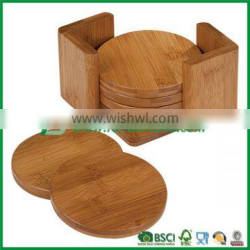 pure bamboo drink cup coasters sets of 6 pieces with holder Quality Choice