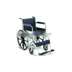 Cheap chromed steel wheelchair with solid MAG rear wheel fixed FDA TUV certificate