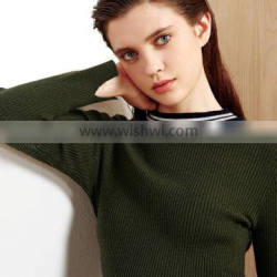 Green color women sweater 2017 fashion round-neck pullover sweater