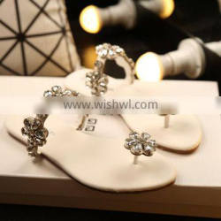 Rhinestone Korean pinch flat sandals with flowers flat sandals and slippers slippers