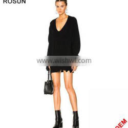 Women Plus Size Black Distressed Deep V Neck Knit Jumper