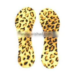 Transparent gel insole with leopard print fabric insole for women