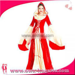 Fancy Dresses,Adult Costume Plus Size Feature women Gender Red Hooded Gown Medieval Costume