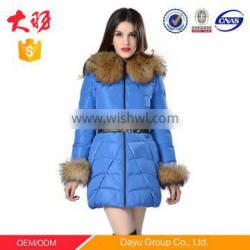 2016 New fashion women long down jacket Below the knee length with fur collar and cuffs