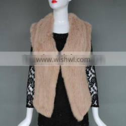 New Hand Knitted Style Fashion Rabbit Fur Knitted Vest Ladies