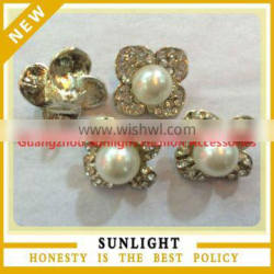 New arrival alloy rhinestone button and metal pearl button