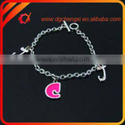 Promotion fashion link bracelet with letter charm