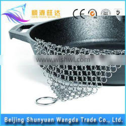 SS304 316 316L Stainless Steel Chain Mail for cast iron span Scrubber