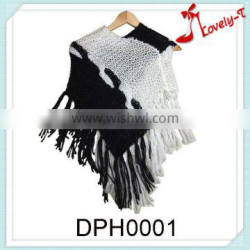 fashion girls knitted knitwear patterns crochet knitting poncho sweater with collar and tassel