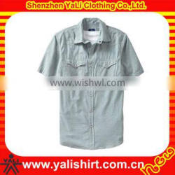 OEM fashion top quality two pockets short sleeve casual men wholesale flannel shirt