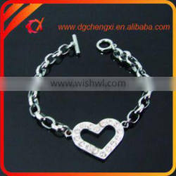 Bracelet with Bling Heart Shaped Charms