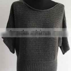 ladies bat sleeve lurex coated with mohair knit pullover sweater
