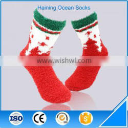 Thick adult christmas style red cheap wholesale full terry socks