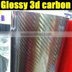 glossy chrome 3d carbon film dark grey color 1.35*30m with air free bubbles