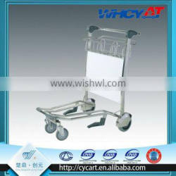 stainless steel 4 wheels luggage airport trolley with ad plate
