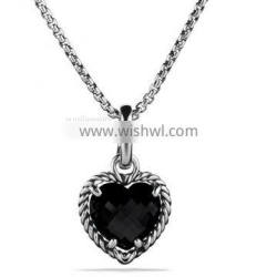 925 Silver Jewelry Cable Heart Pendant with Black Onyx(P-084)
