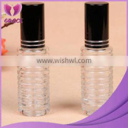20ml clear perfume bottle with black cap