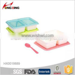 750ml Plastic 2-Compartment Bento Lunch Box with Spoon