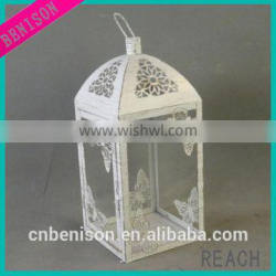antique white home decorative metal candle holder lantern centerpiece