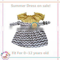 Girls floral dress Short Sleeve stripe Girls party Dresses with sashes one piece summer clothing