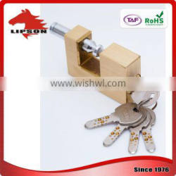 Lipson LS-200K series Hardened Steel Shackle kaba key rectangular brass padlock