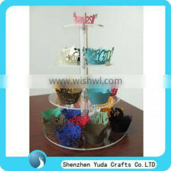 transparent tier tall acrylic table desk countertop cake display stand rack holder with high quality