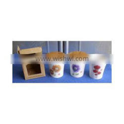 decal porcelain wide mouth cup with wood cover