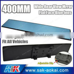 400mm Wide Flat Blue Tinted Interior Clip On Rearview Mirror Universal