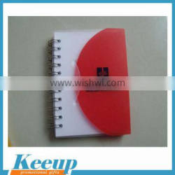 Plastic cover school notebook with pen for promotion activity