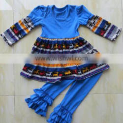 2015 new style baby long sleeve outfits Milu deer design christmas suit YW-145