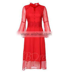 Europe style dresses retro women 3/4 sleeve shift dress with high collar