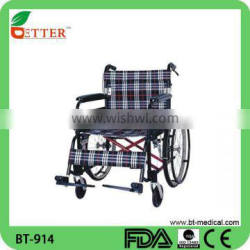 Lightweight folding manual wheel chair for the elder