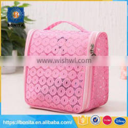 Heat resistant eco beauty pink hanging cosmetic bag
