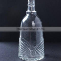 500ml promotional OEM customized wholesale clear glass wine bottle with unique pattern for sale
