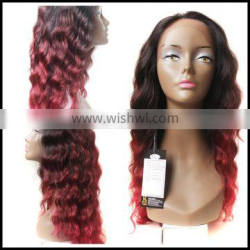 18inch 150g two tone ombre brown and red100% remy mono part wigTop Quality wholesale Human Hair Lace Wig hand made lace wig