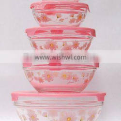 Glass bowl set with flowers printed