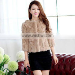 Simple style thick and soft 100% real rex rabbit fur coat for women