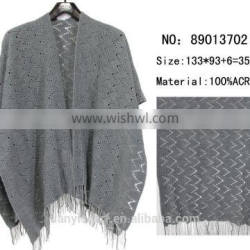 2016 latest design women poncho solid houndstooth pashmina wave woven tassel shawl