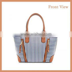 Zebra Vertical Strip designed PU Leather Ladies Tote Bag For Outside Or Shopping