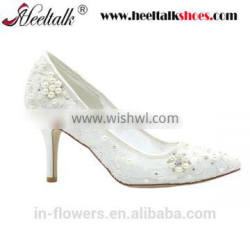 Hiqh quality middle heel dress shoes wedding shoes white