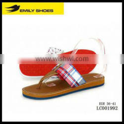 Lady's red&blue quadrille casual slipper
