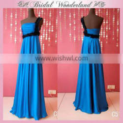 Ruffled lace polyester satin blue prom dress