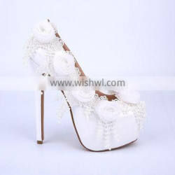 2015 new collection women wedding shoes high heel platform bridal shoes flower design white wedding shoes