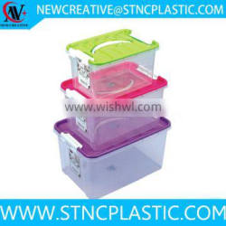 clear plastic container with lid and handle storage using