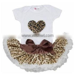 2015 New Design Boutique Baby Dress with Cheetah Heart Tutu Petti Skirt Sets for Girls