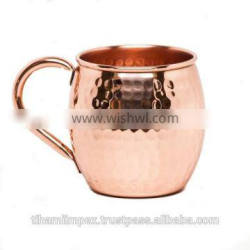 Copper Barrel Moscow Mule, Moscow Mule Mug - 100% Pure Solid Copper, No Nickel Interior, Hand Hammered 16 Oz