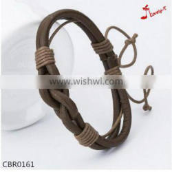 good quality thin real leather knit bracelet 2016