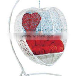Tunisia Donna red love heart outdoor Garden plastic wicker pe rattan hammock chair hanging chair swing chair