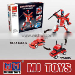 Plastic connecting toys car transform robot toy all kinds of building block wolesale