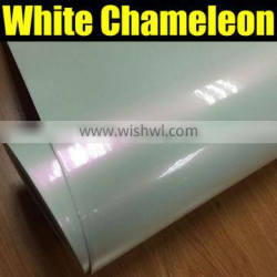 glossy chameleon white to red car wrap vinyl film air bubble ,1.52*20m/roll